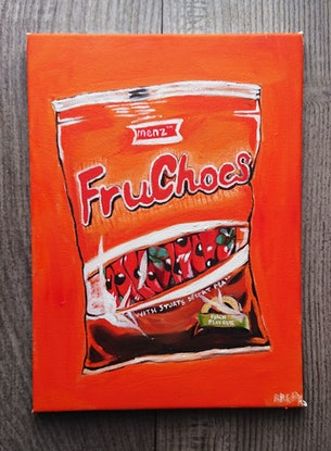 (CreativeWork) Fruchocs with Sturt's Desert Pea by Rebecca Read. Oil Paint. Shop online at Bluethumb.