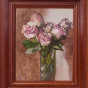(CreativeWork) Roses on special by Ekaterina Strounina. oil-painting. Shop online at Bluethumb.