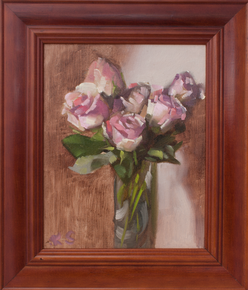 (CreativeWork) Roses on special by Katia Strounina. Oil Paint. Shop online at Bluethumb.