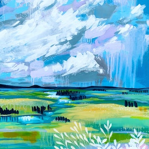 (CreativeWork) Beyond the Horizon, abstract landscape painting by Clair Bremner  by Clair Bremner. arcylic-painting. Shop online at Bluethumb.