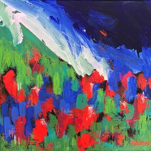 (CreativeWork) True Blue - Abstract Visions Series 2019  - Flowers Poppies France by Jen Shewring. arcylic-painting. Shop online at Bluethumb.