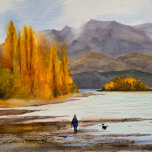 (CreativeWork) Wanaka autumn by Shelly Du. watercolour. Shop online at Bluethumb.