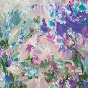 (CreativeWork) Floral Kisses by Amber Gittins. arcylic-painting. Shop online at Bluethumb.