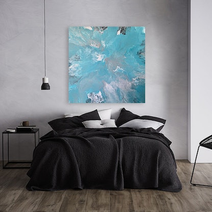 """(CreativeWork) """"Happy Place"""" Turquoise Abstract Painting by Debra Ryan. #<Filter:0x00007fbb7484ad78>. Shop online at Bluethumb."""