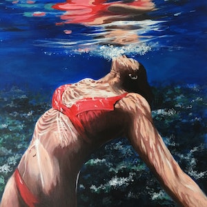 (CreativeWork) Floating Free by Kathryn Johnston. arcylic-painting. Shop online at Bluethumb.