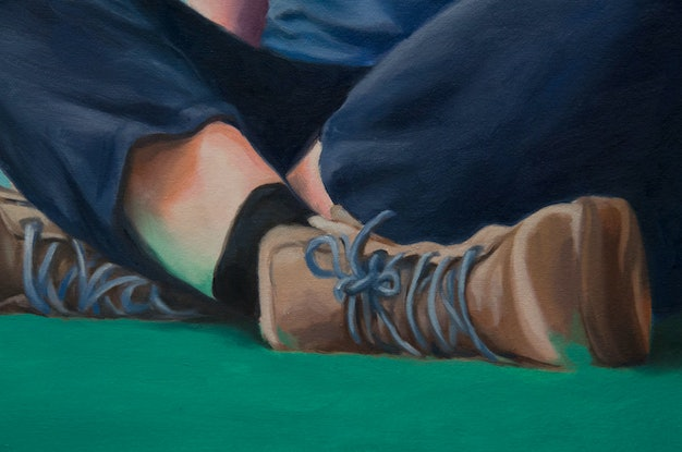 (CreativeWork) Blues and greens, and steel cap boots by maria radun. Oil Paint. Shop online at Bluethumb.