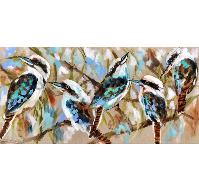 (CreativeWork) Forest call kookaburra  by Amanda Brooks. arcylic-painting. Shop online at Bluethumb.