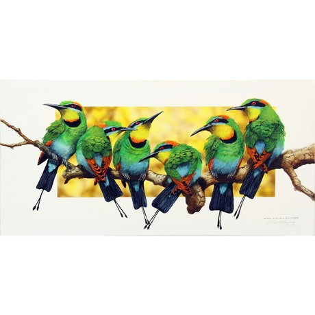(CreativeWork) Australian Rainbow Bee-Eaters by Paul Margocsy. Watercolour Paint. Shop online at Bluethumb.