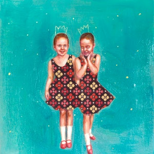 (CreativeWork) Little Dancers by Leah Mariani. oil-painting. Shop online at Bluethumb.