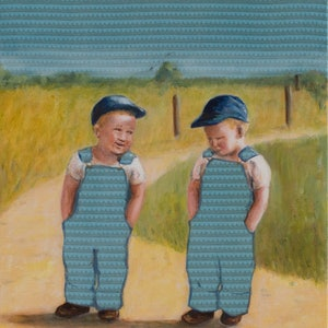 (CreativeWork) Double Trouble by Leah Mariani. oil-painting. Shop online at Bluethumb.