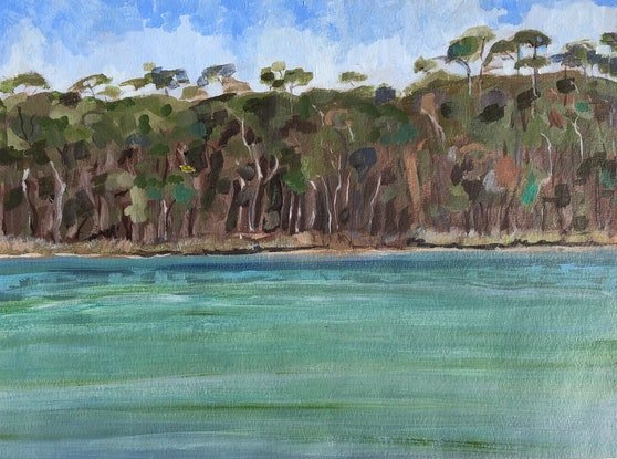 (CreativeWork) View Across  by Kate Gradwell. Acrylic Paint. Shop online at Bluethumb.
