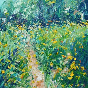 (CreativeWork) Wild Flowers In The Morning - FRAMED - Landscape Painting by Angela Hawkey. arcylic-painting. Shop online at Bluethumb.