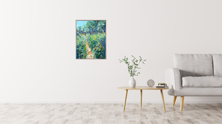(CreativeWork) Wild Flowers In The Morning - FRAMED - Landscape Painting by Angela Hawkey. #<Filter:0x00005558c9e498b0>. Shop online at Bluethumb.