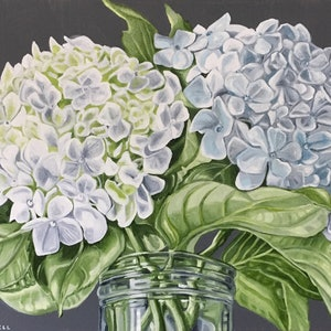 (CreativeWork) The Gardens Last Hydrangeas by Alicia Cornwell. oil-painting. Shop online at Bluethumb.