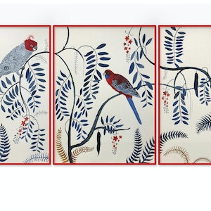 (CreativeWork) Three's Company Triptych by Sally Browne. watercolour. Shop online at Bluethumb.