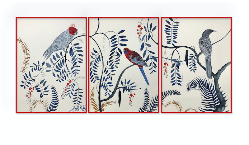 (CreativeWork) Three's a Crowd Triptych by Sally Browne. watercolour. Shop online at Bluethumb.