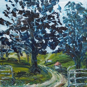 (CreativeWork) 'Coming Home' Beechmont Queensland Landscape  by Michelle Keighley. oil-painting. Shop online at Bluethumb.