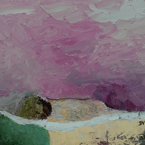 (CreativeWork) Amethyst skies over golden fields by Damien Venditti. oil-painting. Shop online at Bluethumb.