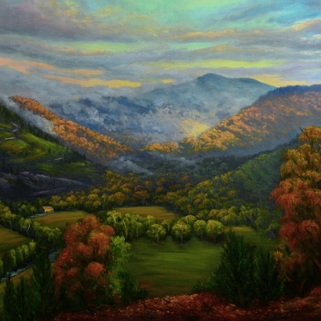 (CreativeWork) View of Mt Bogong from Tower Hill after the rain by Christopher Vidal. Oil Paint. Shop online at Bluethumb.