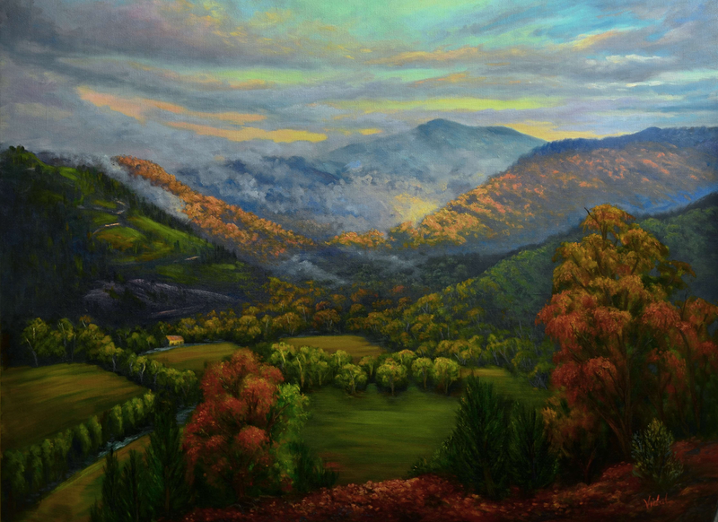 (CreativeWork) View of Mt Bogong from Tower Hill after the rain by Christopher Vidal. oil-painting. Shop online at Bluethumb.