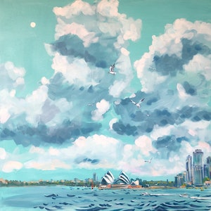 (CreativeWork) The Higher Skies  by Valentyna Crane. Acrylic Paint. Shop online at Bluethumb.