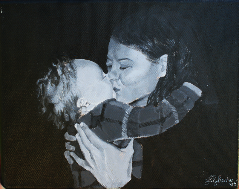 (CreativeWork) Mother and Daughter by Lily Baxter. arcylic-painting. Shop online at Bluethumb.
