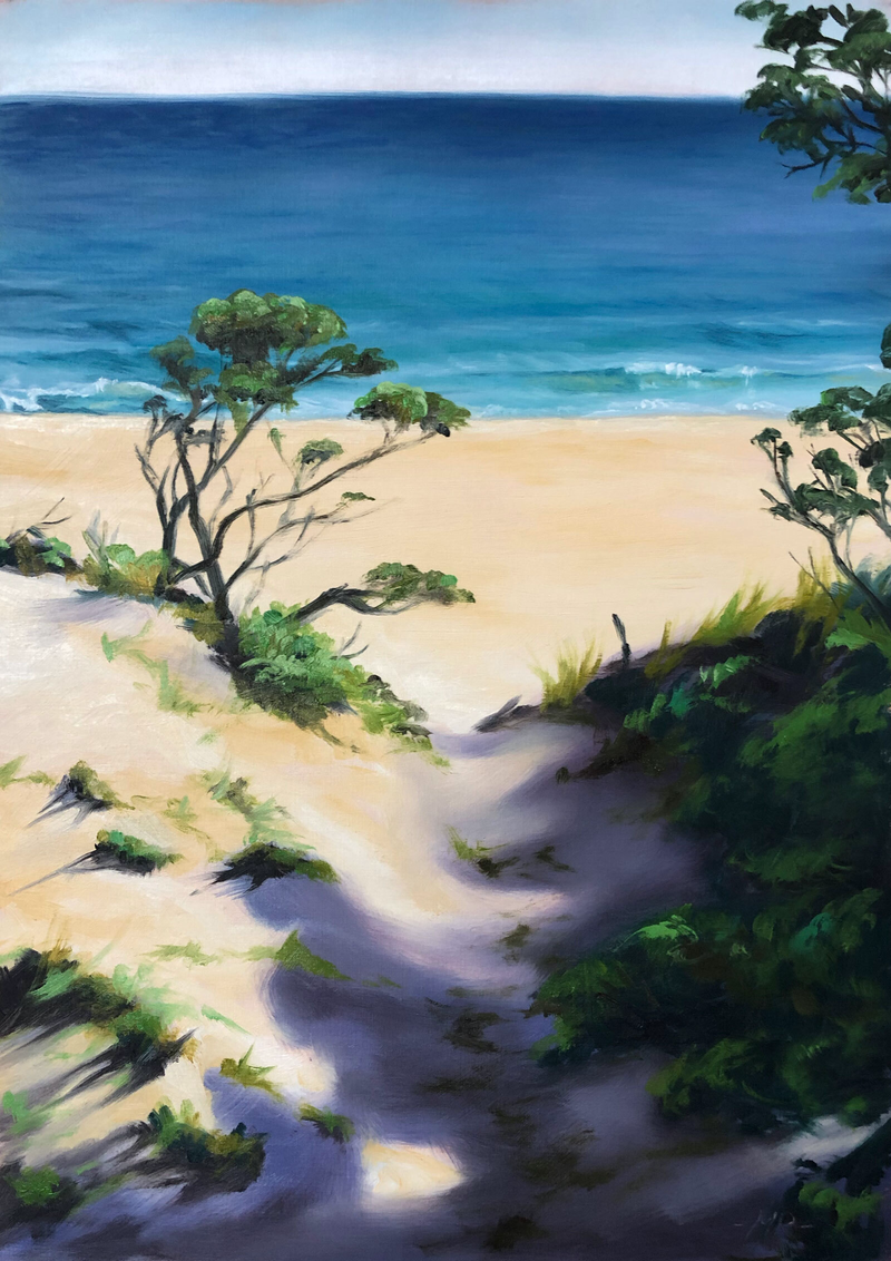 (CreativeWork) Wild Beach by maria radun. oil-painting. Shop online at Bluethumb.