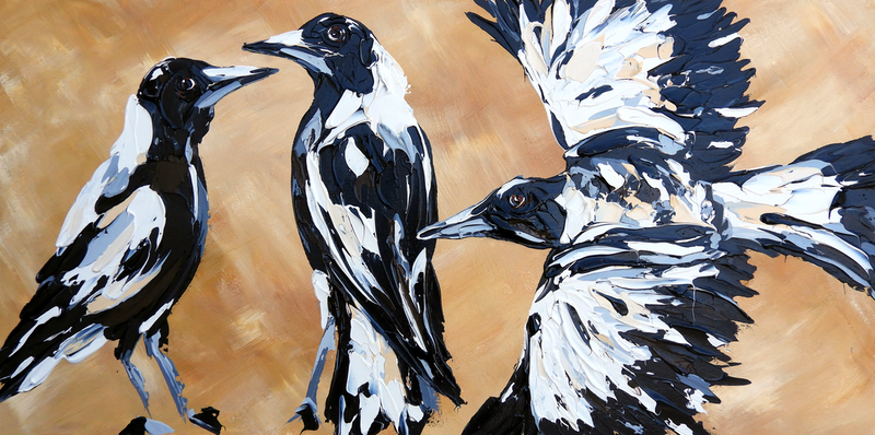 (CreativeWork) Ochre Sky Magpies by Lisa Fahey. arcylic-painting. Shop online at Bluethumb.