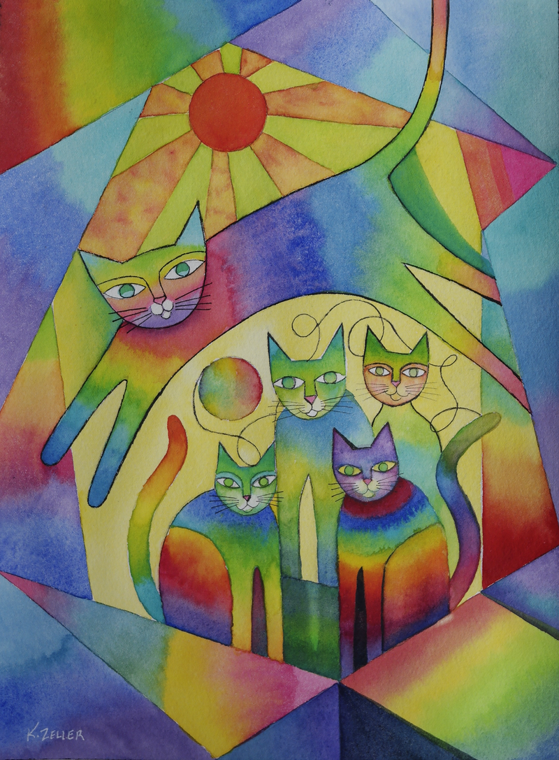 (CreativeWork) Happy Together by Karin Zeller. Watercolour Paint. Shop online at Bluethumb.