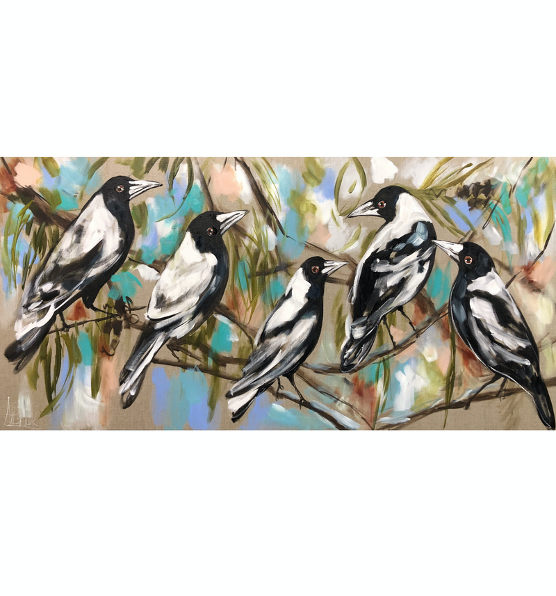 (CreativeWork) Magpies and summer skies  by Amanda Brooks. arcylic-painting. Shop online at Bluethumb.