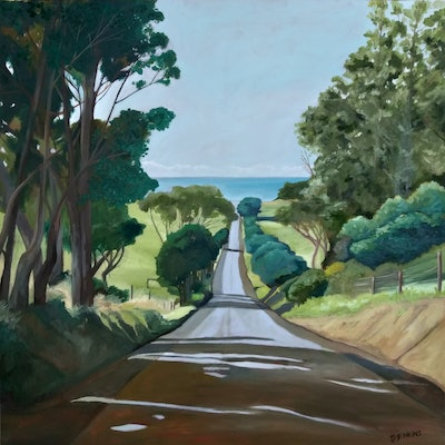 (CreativeWork) Road to Moorlands by Sandra Jenkins. oil-painting. Shop online at Bluethumb.