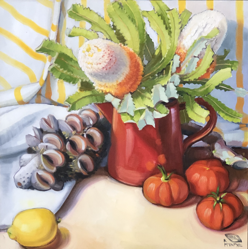 (CreativeWork) Banksias and Tomatoes II (framed original) by kirsty mcintyre. oil-painting. Shop online at Bluethumb.