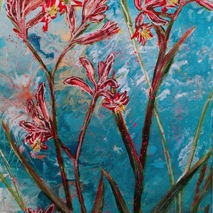 (CreativeWork) UNDER THE BLUE SKY - KANGAROO PAWS   by HSIN LIN. arcylic-painting. Shop online at Bluethumb.