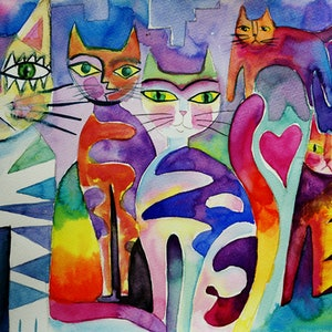 (CreativeWork) Berlin Cats by Karin Zeller. watercolour. Shop online at Bluethumb.