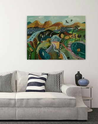 (CreativeWork) Abstract Landscape - Desert Hills by Susan Trudinger. Acrylic Paint. Shop online at Bluethumb.