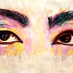 (CreativeWork) Smiling eyes dont lie by Rebecca lam. arcylic-painting. Shop online at Bluethumb.
