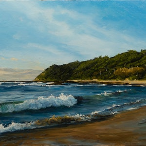 (CreativeWork) Sunrise Over Bateau Bay Beach by Zac Hampson. oil-painting. Shop online at Bluethumb.