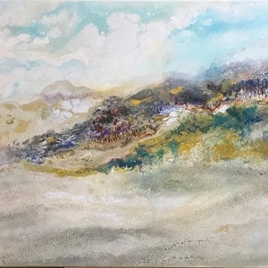 (CreativeWork) Golden Bay by Jackie Peach. mixed-media. Shop online at Bluethumb.