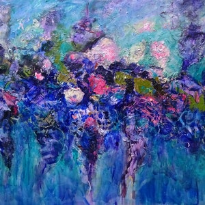 (CreativeWork) WISTERIA AND ROSES by Maureen Finck. oil-painting. Shop online at Bluethumb.