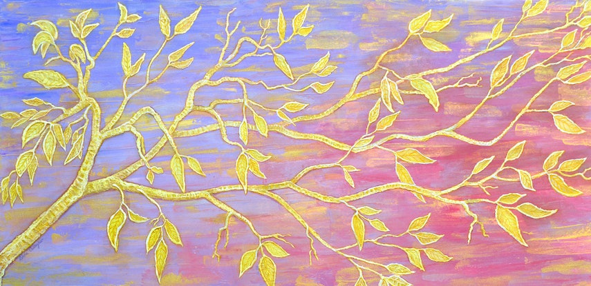 (CreativeWork) Tapestry of Leaves by Linda Callaghan. Acrylic Paint. Shop online at Bluethumb.