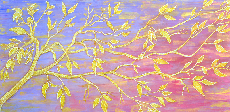 (CreativeWork) Tapestry of Leaves by Linda Callaghan. arcylic-painting. Shop online at Bluethumb.