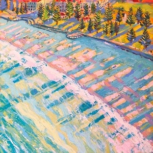 (CreativeWork) Coogee Beach by Valentyna Crane. arcylic-painting. Shop online at Bluethumb.