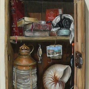 (CreativeWork) Fisherman Box by Gerard Maille. oil-painting. Shop online at Bluethumb.
