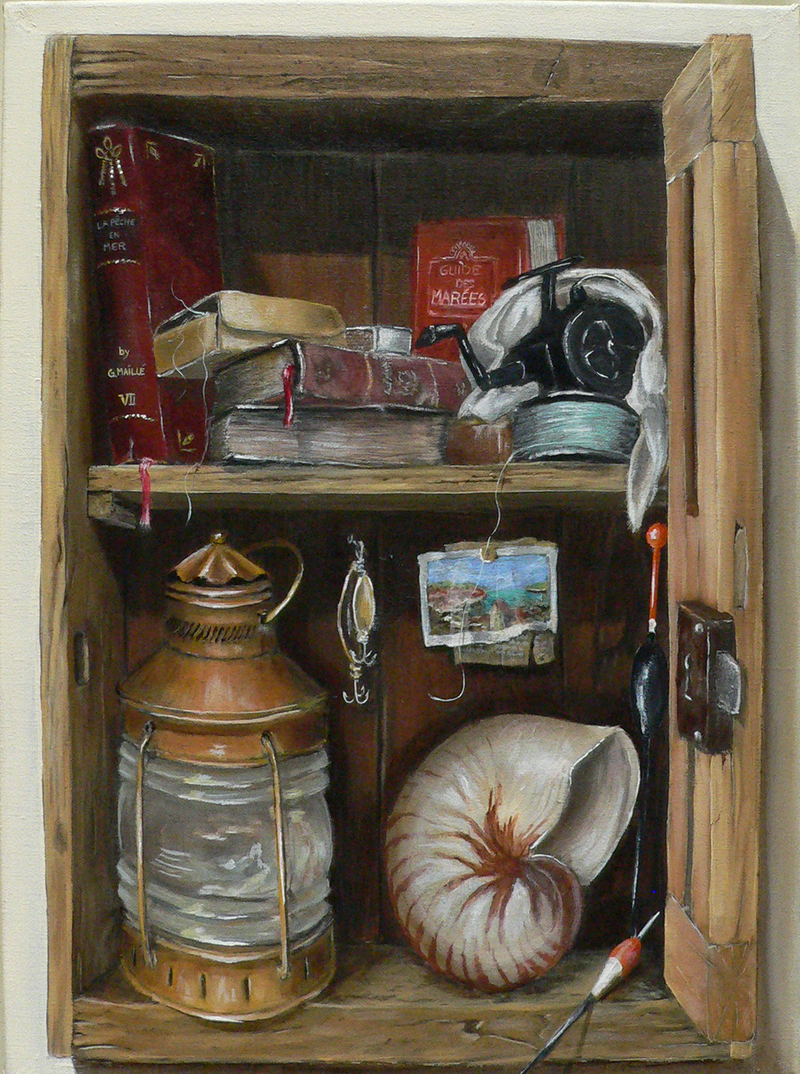 (CreativeWork) Fisherman Box by Gerard Maille. Oil Paint. Shop online at Bluethumb.