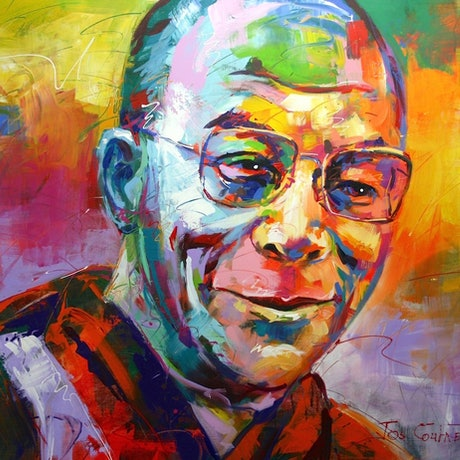 (CreativeWork) Dalai Lama by Jos Coufreur. Acrylic Paint. Shop online at Bluethumb.