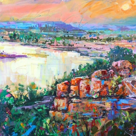 (CreativeWork) Mornington Sanctuary, Kimberleys by Jos Coufreur. Acrylic Paint. Shop online at Bluethumb.