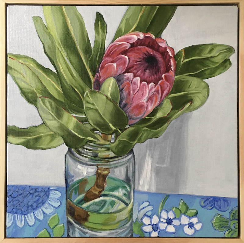 (CreativeWork) Protea on Blue Barkcloth by Alicia Cornwell. oil-painting. Shop online at Bluethumb.