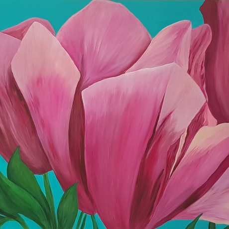 (CreativeWork) Blooming by Donna Cozens. Acrylic Paint. Shop online at Bluethumb.