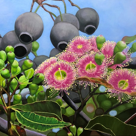 (CreativeWork) Sky-lit Blossoms by Lisa Brockman. Acrylic Paint. Shop online at Bluethumb.