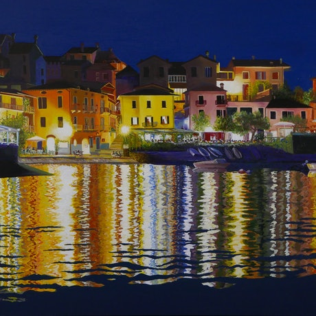 (CreativeWork) Evening, Varenna, Lake Como by Bevan Griggs. Acrylic Paint. Shop online at Bluethumb.